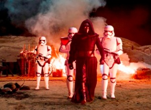 Star Wars: The Force Awakens Kylo Ren (Adam Driver) with Stormtroopers Ph: David James ©Lucasfilm 2015