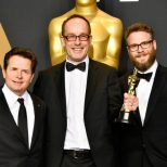 Actor Michael J. Fox, editor John Gilbert and actor Seth Rogen