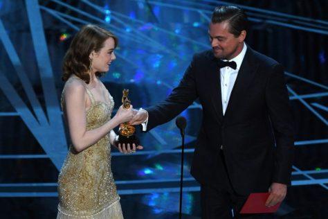 Emma Stone and Leonardo DiCaprio